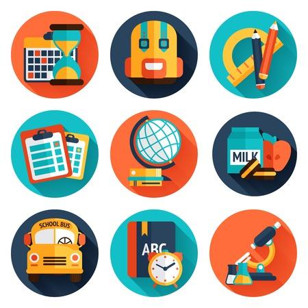 Conocimiento la educación científica de la universidad y de escuela los iconos planos conjunto aislado ilustración vectorial