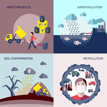contaminacion del agua: Aislado iconos de contaminación del aire del suelo los productos de desecho de la contaminación del agua ajustada plana ilustración vectorial Vectores