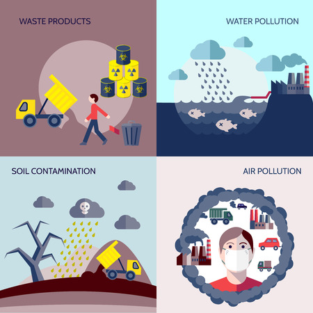 Pollution waste products water soil air contamination icons flat set isolated vector illustration Illustration