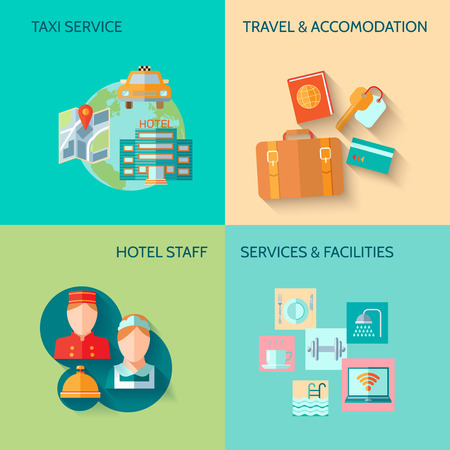 Travel tourism taxi service concept flat business icons set of hotel staff restaurant for infographics design web elements vector illustration