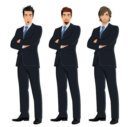 expresion corporal: Conjunto de plena hombre de negocios la longitud del cuerpo aislado en fondo blanco ilustración vectorial Vectores