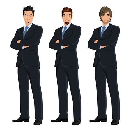 Set of full length body business man isolated on white background vector illustration Vector