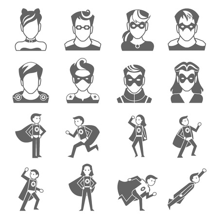 action hero: Super hero male and female avatars in superman costumes set isolated vector illustration