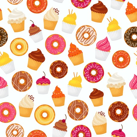 doughnut: Sweet and tasty food dessert donut and cupcakes seamless pattern vector illustration