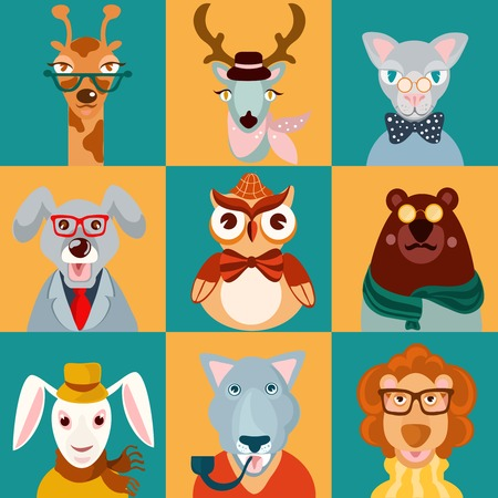 Decorative animal hipsters icons set cat bear owl lion isolated vector illustration Vector