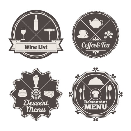 cloche: Restaurant menu coffee and tea wine list labels set isolated vector illustration