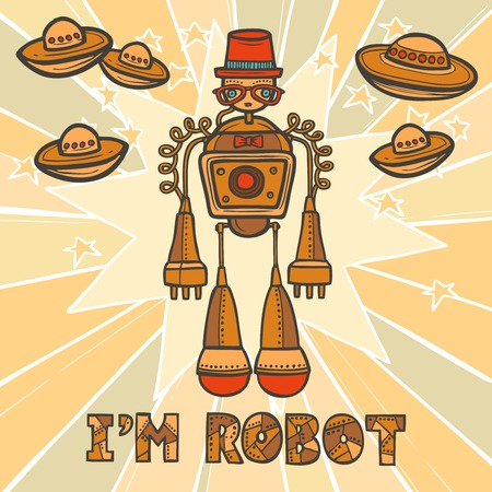 humanoid: Orange trendy robot hipster retro humanoid with mustaches and space background design poster vector illustration