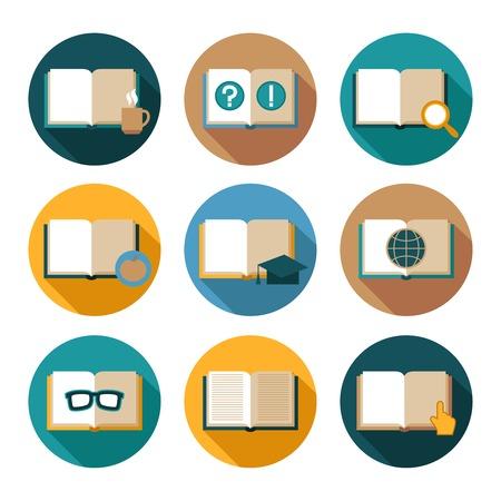 buchhandlung: Buchliteratur Verlagsbuchhandlung flache Ikonen mit isolierten Vektor-Illustration gesetzt