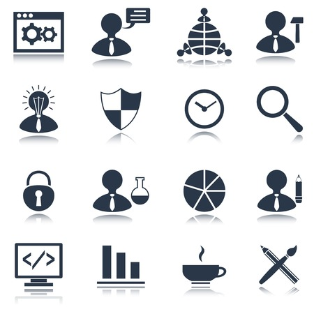 search optimization: SEO mobile computer website search optimization black icons set isolated vector illustration Illustration