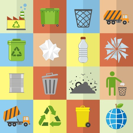Garbage trash environmental cleaning hygienic symbols website icons set isolated vector illustration