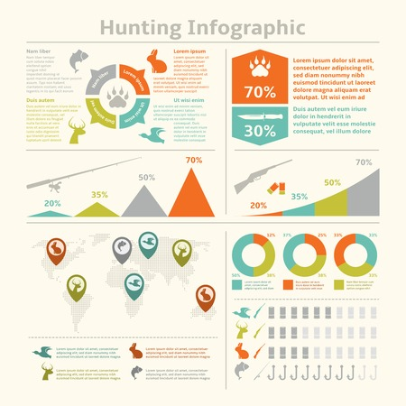 Hunting animals wildlife fishing infographics with diagrams charts for template design vector illustration