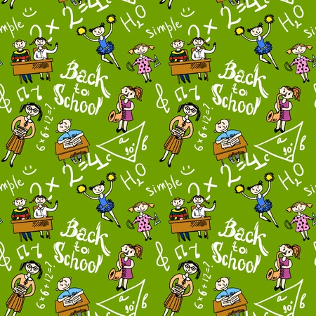 Kids cheerleading learning with school accessories background seamless doodle sketch pattern vector illustration Vector