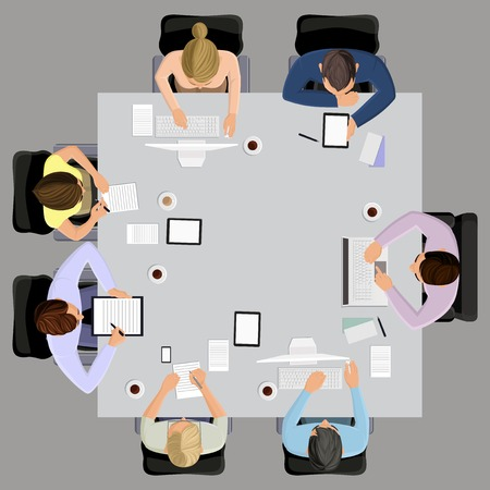 Kantoormedewerkers business management vergadering en brainstormen over de vierkante tafel in bovenaanzicht vector illustratie