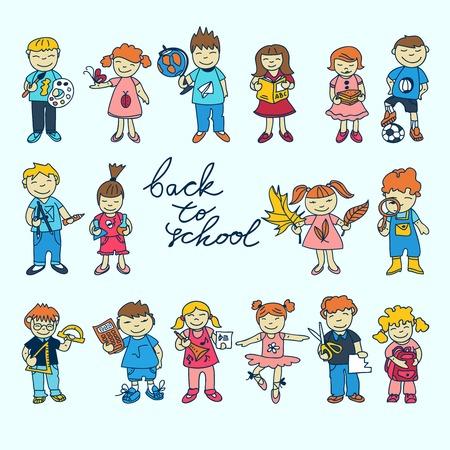 Set of carton doodle cute study school education kids in color vector illustration Vector