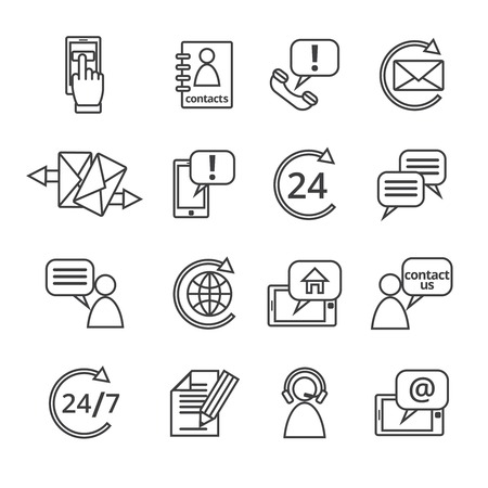 Customer care contacts in line style icons set of online and offline support services isolated vector illustration Vector