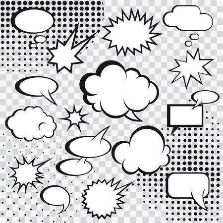 Las burbujas del discurso de historietas y tiras cómicas en medio tono monocromo ilustración vectorial Vectores