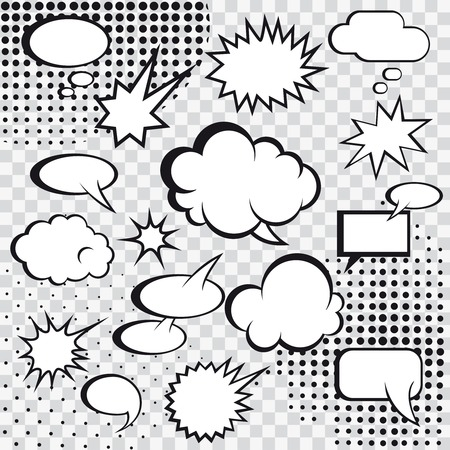 Comic speech bubbles and comic strip on monochrome halftone background vector illustration
