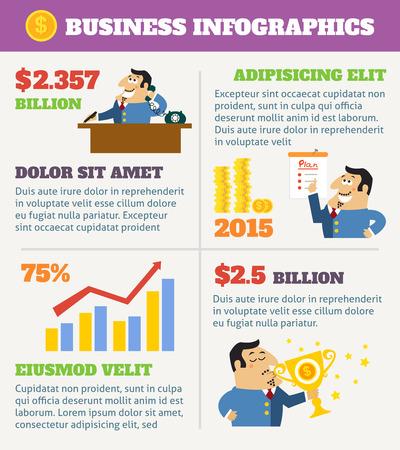 shareholder: Business life infographics with boss at desk shareholder with plan and award illustration. Illustration