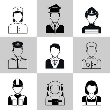 medical student: Avatar social network pictograms set of maid firefighter construction worker manager isolated illustration