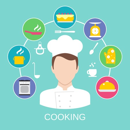 pot holder: Delicatessen cooking culinary pastry chef classes advertisement with kitchen pictograms composition poster placard flat abstract illustration