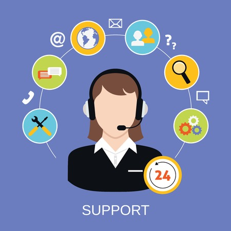 24 7: 24h online worldwide available customer support help desk woman operator service concept illustration