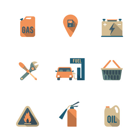 fueling pump: Gas fueling pump electric car charging station mechanic repair service icons set flat isolated abstract illustration