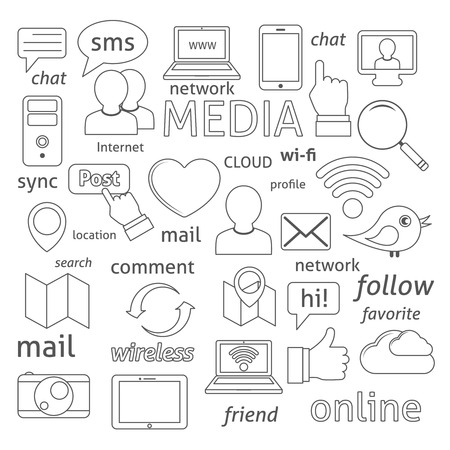 thumbup: Social media sign for blogging networking and marketing communications isolated illustration Illustration