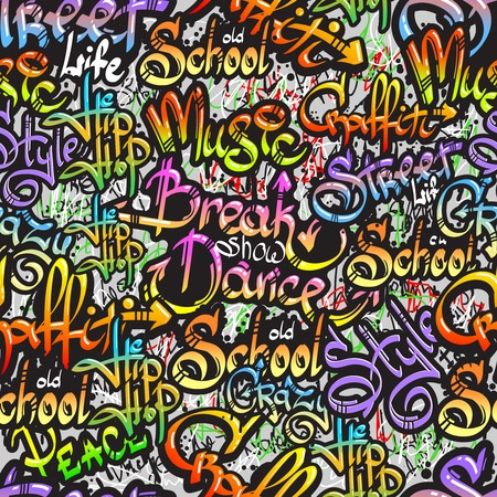 Graffiti spray paint expressive street crazy dance show words design seamless colorful pattern sketch grunge illustration