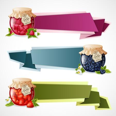 confiture: Natural organic berry dessert jam in glass jar horizontal origami paper banners set isolated illustration Illustration