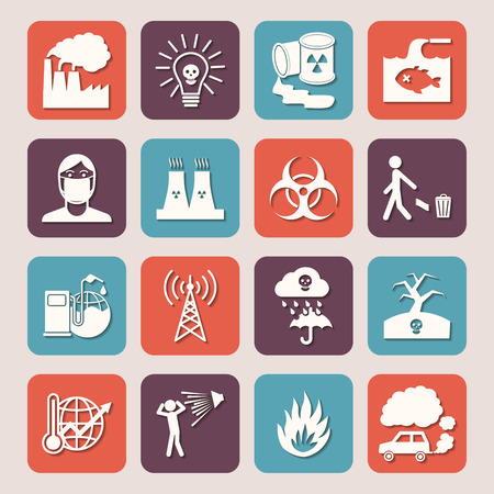 Pollution toxic environment damage radioactive garbage and contamination silhouette icons isolated illustration Vector
