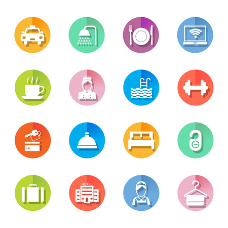 boy bath: Set of hotel bed reception building icons on colorful circles in white color illustration