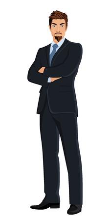 full body: Full length body businessman isolated on white background illustration