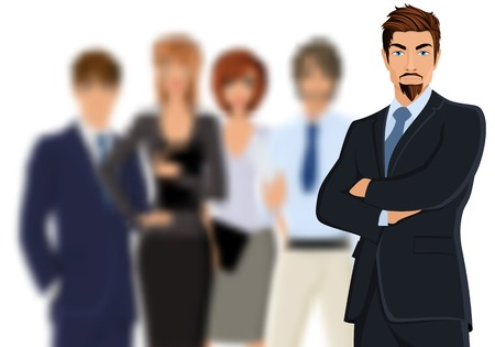 leading: Portrait of young businessman in suit with blurred business team illustration Illustration