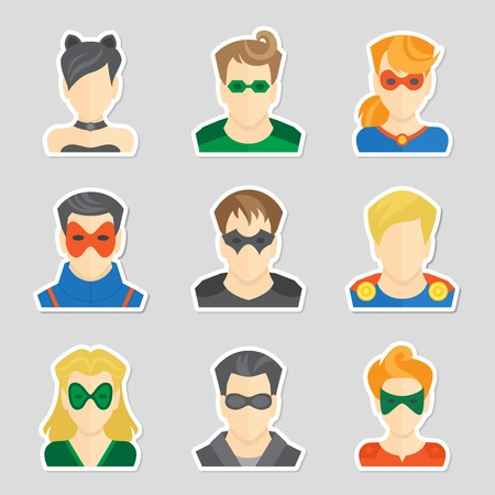 Set of comic character superheroes avatar icons in sticker style illustration Vector