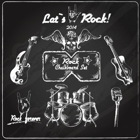 roll: Rock guitar music grunge chalkboard retro sketch set isolated illustration