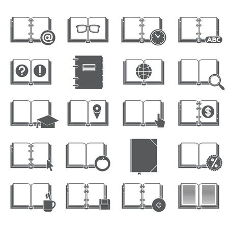 Book library collection black silhouette icons set with education and business symbols isolated illustration Vector