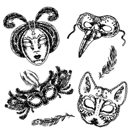 Carnival Venetian style full face and eye feather festive masks icons set sketch doodle isolated illustration Illustration