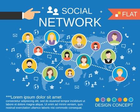 interaccion social: Los usuarios de computadoras de la red actividad de comunicación concepto diagrama diseño social con plantillas de composición avatares iconos ilustración plana Vectores