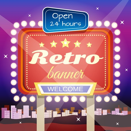 Retro welcome 24 hours open club advertisement on night city skyline illuminated poster placard design abstract illustration Vector
