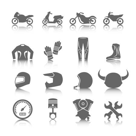 silueta moto: Conjunto de motocicletas casco botas guantes pantalones chaqueta jinetes iconos de color gris con la reflexi�n