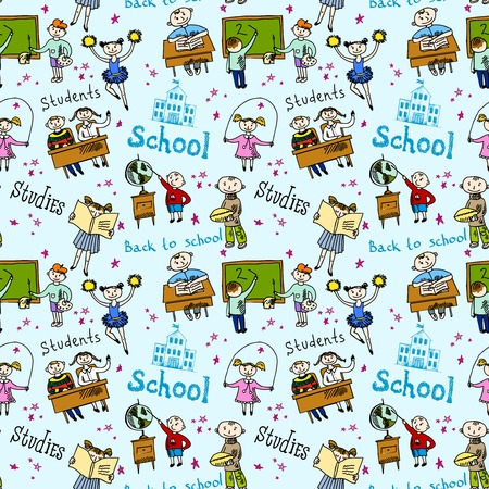 Kids drawing and writing formulas on chalkboard with school accessories background seamless doodle sketch pattern illustration