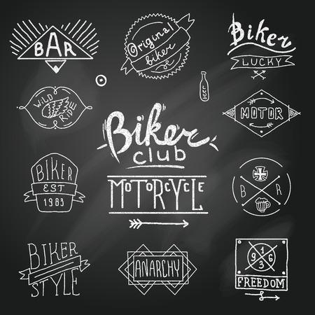 Vintage badge biker motor emblem in sketch style on chalk board illustration Illustration