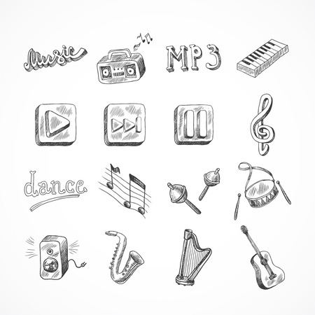 hand beats: Set of music dance instruments hand drawn icons in sketch style illustration
