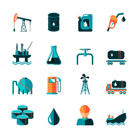 Oil industry gasoline processing symbols icons set in flat style with tanker truck petroleum can and pump isolated illustration
