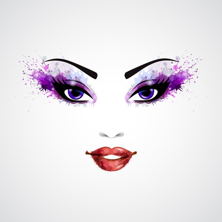 eye make up: Fashion abstract woman grunge face with purple make-up illustration