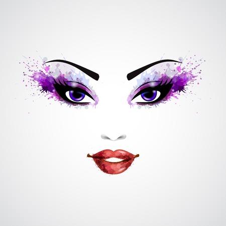 Fashion abstracte vrouw grunge gezicht met paarse make-up illustratie
