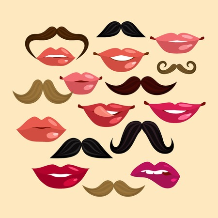 close up face woman: Composition with lips mustache smile female in hipster vintage style illustration