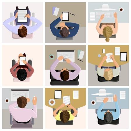 상단: 노트북 컴퓨터 커피 아이콘 일러스트와 함께 테이블에 작업에 비즈니스 사무실 작업자 명 세트