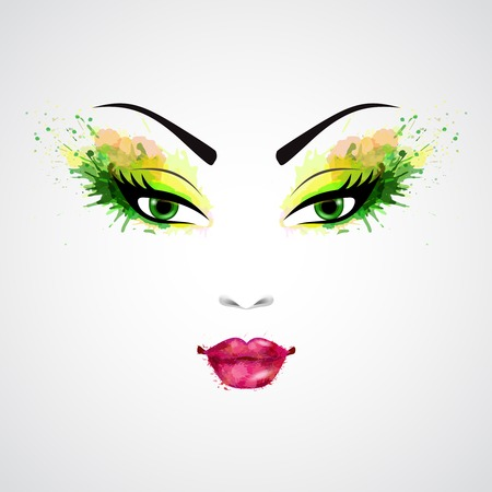 Fashion abstract woman grunge face with green and orange make-up illustration Illustration