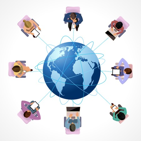top of the world: Global connection business network people concept in top view illustration